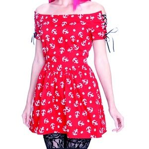 Hot Topic Red Sailor Mini Dress Anchors & Skulls L